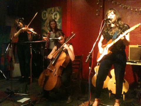 Emily Barker & The Red Clay Halo [L-R]: Anna Jenkins, Gill Sandell, Jo Silverston, Emily Barker, Strongroom Bar, 27 June 2012