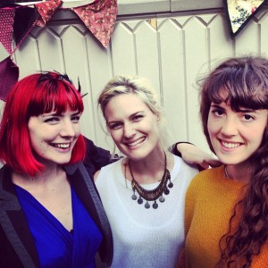 Photo of (L-R) Gabby Young, Jessie Moncrieff and Emily Woods at Folk in a Box at The Young Vic (used by kind permission of Gabby Young)