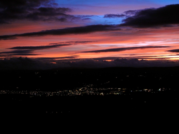 Ruthin at night from Moel Famau