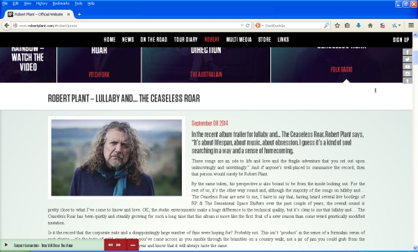 Screencap of my review on Robert Plant's website